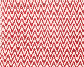 Red White Zig Zag Rug Bohemian Hand Loomed Cotton Jute Small 60 x 90cm
