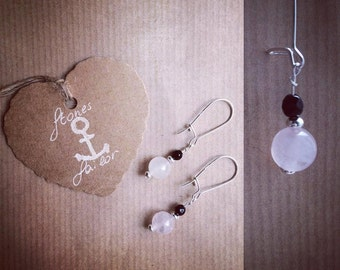 925 Silver earrings Wheatear with gemstone Rose Quartz and Black Onyx