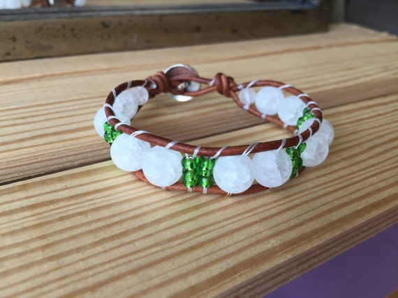 White quartz  crackle beads, lime green accent beads, tree of life, single wrap bracelet, metal button, gift, earth tones