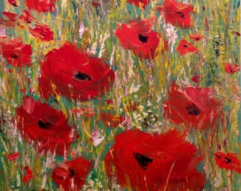 Large Poppies Painting For Home Or Office Palette Knife Art Wall Art Canvas Original Oil Painting Contemporary Painting Modern Ukrainian Art