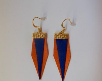 Leather Orange and Navy Blue earrings