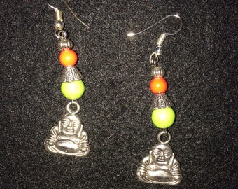 BOHO Earrings: Green and Orange beads with a Buddha Charms