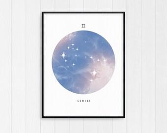 Gemini Print, Zodiac art print, Gemini Printable Birthday Gift, Gemini Star Sign, Horoscope Decor, Digital Download, Zodiac Art poster