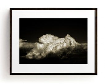 Cloud Print, Cloud Photography, Cloud Art, Minimalist Wall Art, Large Wall Art, Sepia, Large Art Prints, Office Decor, Black and White