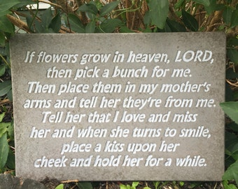 16 x 11  Concrete Mother Memorial Stepping Stone, Garden Stone, Plaque. Lettering Can Be Hand Painted in Your Choice of Color