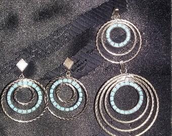 Retro earrings and pendant set
