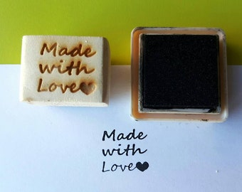 Made With Love stamp, laser cut stamp,stamp for tags, rubber stamp, packaging supplies