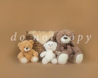 Bears with Basket Newborn Digital Backdrop