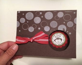 """One handmade """"little angel"""" brown and red card with matching envelope"""