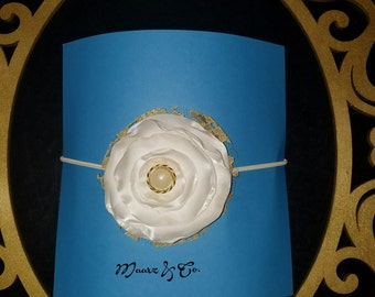 White and gold lollipop flower headband your little princess will love it