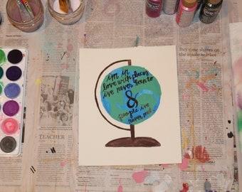 "7.5"" x 9"" Watercolor Print - ""Globe"""