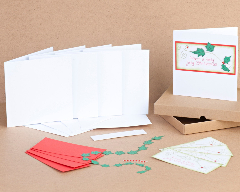 Handmade holly jolly christmas card kit create your own diy for Make your own homemade christmas cards