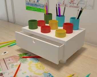 Organizer for creativity for children, drawing, wood