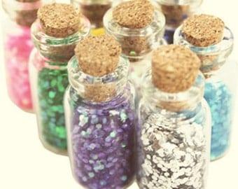 48 colourful glitter cork jars