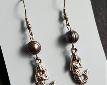 Black Pearl Mermaid Earrings