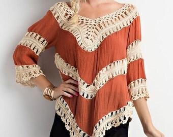 Orange Crochet 3.4 sleeve top