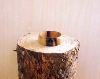 Black and White Ebony Wooden Ring Size 11