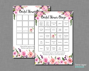 Floral Bridal Shower Bingo Game Printable, 1 Blank AND 40 Unique / Different Pre-Filled Cards Bingo Card, Downloadable Bridal Shower Bingo