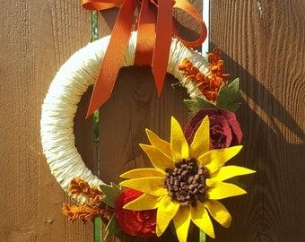 10 inch fall wreath with felt flowers