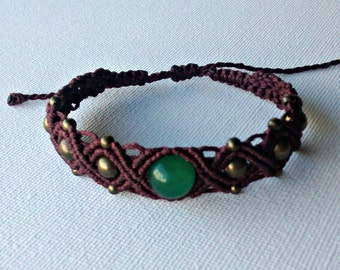 Bracelet macrame with aventurine, color Bordeaux and beads of bronze. Boho, Bohemian, hippie, ethnic, tribal
