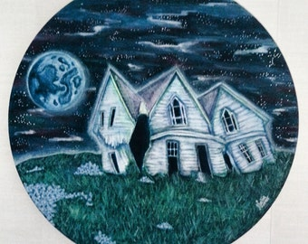 """SALE Acrylic Painting Abandoned House on Round Canvas , Abandoned Building , Spooky Art , Spooky Painting , Horror Art , 12x12"""" / 30 x 30 cm"""