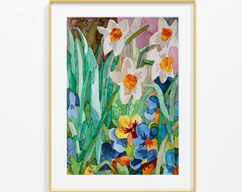 Original watercolor, pansies, garden, flowers, Size 11x15 inches