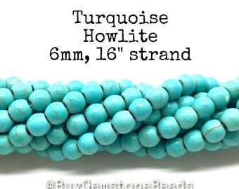 """6mm Synthetic Turquoise colored Howlite beads, 16"""" strand. wholesale gemstone beads.  wholesale beads. #R6S-010"""