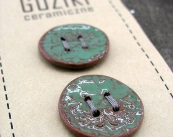 5 Ceramic Buttons, Pottery Buttons, Handmade Buttons, Green glaze Buttons