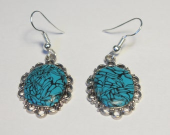 """Turquoise"" in polymer clay earring"