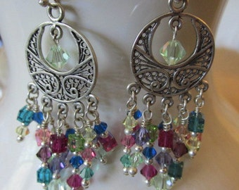 Sterling Silver and Swarovski Earrings - Multi Colors of Crystals - 2 Inchs long - French Wires