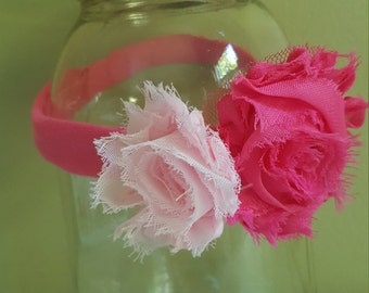 Pink flower infant headband