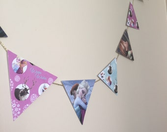 Disney Frozen Anna + Elsa up-cycled bunting banner flags - DisneyFlags