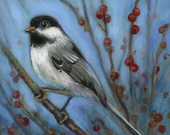 Chickadee With Berries, Print, Bird Art