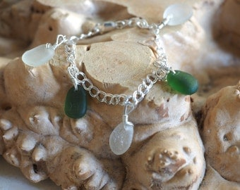 Green and white seaglass+ Stirling Silver bracelet