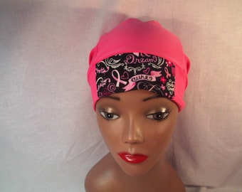 Breast cancer cap with breast cancer insert in the front slouchy cap gives you room for a scarf,head cover,hat