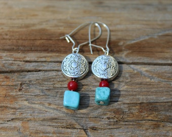 Indian Summer (Silver, Red, Turquoise) earrings