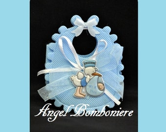 PACKAGED PARTY FAVORS BAGS shaped like bib in tnt with application Stork ribbons idea baptism birth