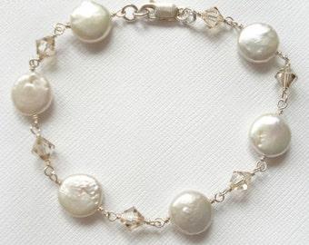 Sterling Silver Coin Pearl Swarovski Crystal Bracelet - OOAK
