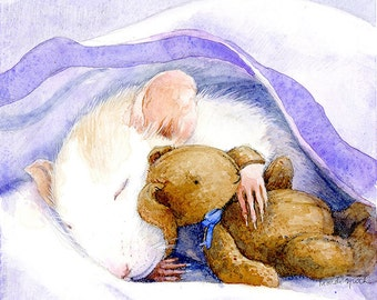 MOUSE Sleeping • Peet & Buttercup Collection • Children's Wall Art • Hand Signed Archival Print by Mardi Speth • Choose a Size