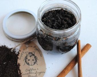 Organic Coffee & Cinnamon Sugar Scrub - Organic Body Scrub - 4oz to 16oz jars
