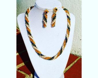 Mediterranean Princess. Necklace & earring set ; Handmade beadwork Swarovski crystals.