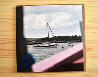 Boat card - art card - photograph card - 15cm x 15cm - greeting card