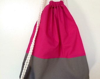 Pink and Gray Drawstring Backpack