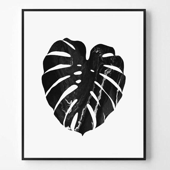Monstera blatt drucken schwarz wei foto minimal tropischen for Immagini minimal