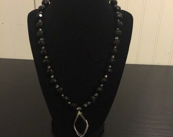 Onyx Silver Pendant Necklace