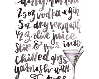 Handlettered Dirty Martini Recipe