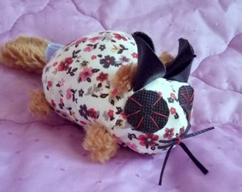 Premium Catnip Cat Toy Mouse with Leather Ears and Faux Fur Tail. Kawaii catnip cat toy.