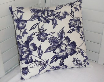 Pillow Cover, Throw Pillow Cover, Decorative Pillow Cover, Cotton Print Fabric, Navy White Large Floral Print