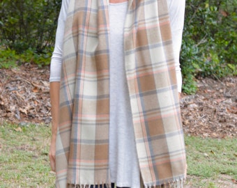 Brown Plaid Fringe Scarf