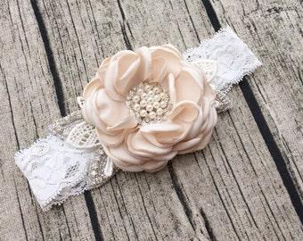 Ivory Vintage Headband, Flower Girl Hair Accessories, Flower Girl Headband, Baby Girls Headband, Lace Headband, Flower Headband